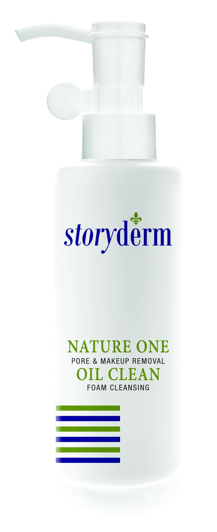 STORYDERM Масло гидрофильное очищающее / Nature One Oil Clean100млМасла<br>Две функции - 1 средство. Универсальное и простое очищающее средство. Идеальное очищающее масло удаляет за одно применение всё: от обычной грязи до водостойкого макияжа. Удаляет кожное сало, загрязнения пор и омертвевшие клетки кожи Минимальное раздражение. Очищающее средство 10-в-1: Очищает поры. Удаляет кожное сало. Удаляет омертвевшие клетки кожи. Успокаивает. Контроль pH. Сужает поры. Увлажнение. Гипоаллергенность. Способ применения: 1. Не мочите кожу лица, оставьте ее сухой. Вылейте достаточный объём средства в ладонь и мягко вотрите на всю поверхность кожи лица. 2. Добавьте воды, вспеньте, втирайте в кожу по часовой стрелке. 3. Смойте теплой водой.<br><br>Объем: 100 мл