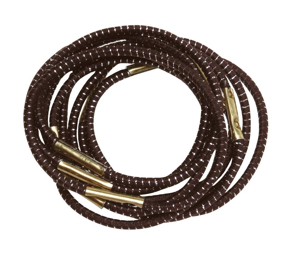 DEWAL PROFESSIONAL Резинки для волос коричневые с серебристой нитью midi 10 шт/уп