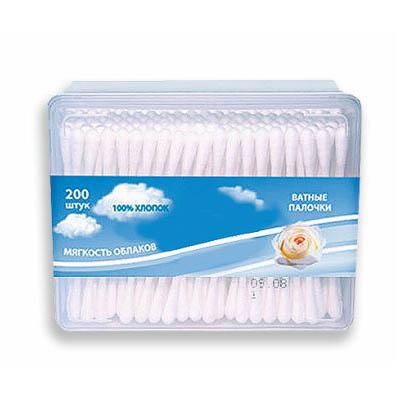 ЧИСТОВЬЕ Палочки ватные в коробке (хлопок) 200 шт/упВатная продукция<br>Ватные палочки &amp;#40;в коробке&amp;#41; AMRA хлопок 200 шт.\уп.<br>