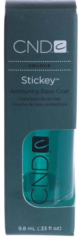 CND База под лак / Stickey 9,8млБазовые покрытия<br>Лучшее базовое покрытие Stickey из всех имеющихся на косметическом рынке. Stickey увеличивает сцепление лака с ногтем, предохраняет от действия красящих пигментов и агрессивных составляющих лака.  Предотвращает пожелтение натуральных ногтей.<br><br>Типы ногтей: Нормальные