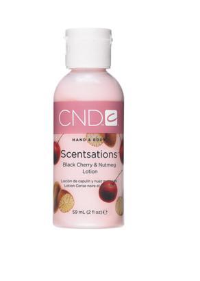 CND Лосьон для рук и тела Вишня &amp; Мускатный орех / SCENTSATIONS 59млЛосьоны<br>Лосьоны для рук и тела. Содержат витамины А, Е, экстракт Алоэ Вера, которые увлажняют, смягчают кожу и регулируют ее кислотно-щелочной баланс. Коллекция состоит из лосьонов с экстрактами и запахами на любой вкус. Лосьоны можно использовать на заключительной стадии любого вида маникюра, а также для домашнего ухода за руками и телом.<br><br>Объем: 59<br>Класс косметики: Домашняя