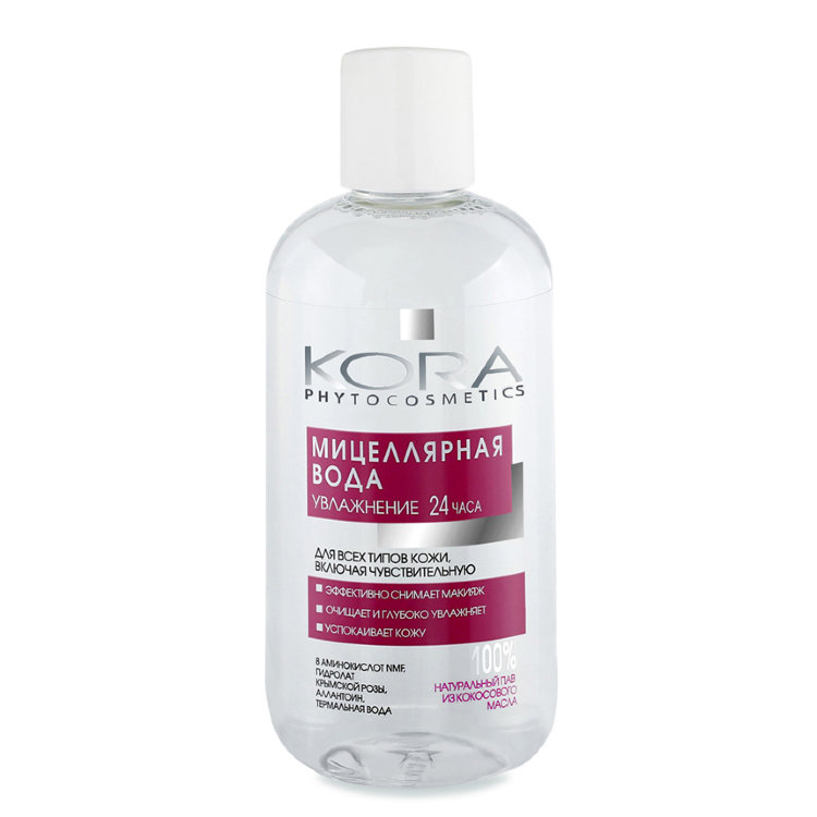 Купить KORA Вода мицеллярная для всех типов кожи, увлажнение 24 часа 300 мл