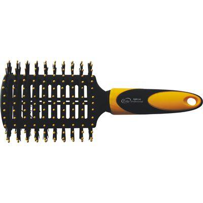 ERIKA Щетка для укладки волос с нейлоновой щетиной, двухсторонняя 2*14 ряднаяЩетки<br>Туннельная щетка Продувные отверстия Двухсторонняя Смешанная щетина (натуральная+нейлон), 14 рядов Нейлоновые штифты, 14 рядов Антистатик Велюровое покрытие С одной стороны туннельной щетки расположены нейлоновые штифты с шариками-ограничителями, а с другой - смешанная (натуральная+нейлон) щетина. Такая конфигурация щетки делает ее достаточно универсальной. Нейлоновые штифты бережно расчесывают волосы, а натуральная щетина делает их блестящими.<br>