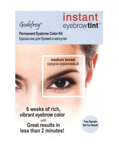 Купить GODEFROY Краска-хна в капсулах для бровей с эффектом татуажа, коричневая / Eyebrow Tint Medium Brown 1 шт