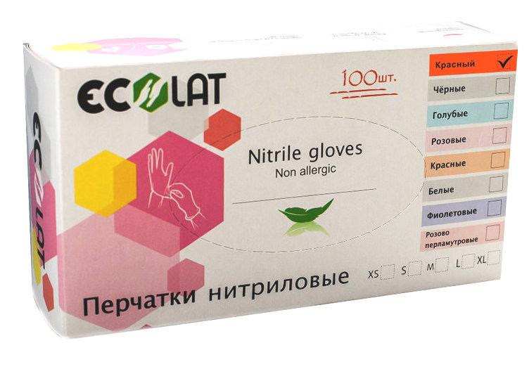 Купить ECOLAT Перчатки нитриловые, красные, размер XS / Red EcoLat 100 шт