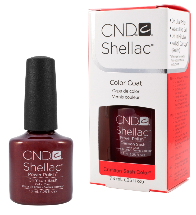CND 90623 покрытие гелевое Crimson Sash / SHELLAC 7,3млГель-лаки<br>Shellac   первый гибрид лака и геля, сочетающий в себе самые лучшие свойства профессиональных лаков для ногтей (простота наложения, яркий блеск, богатство цвета) и современных моделирующих гелей (отсутствие запаха, носибельность, нестираемость). Носится как гель, выглядит как лак, снимается за считанные минуты, укрепляет и защищает ногти, гипоаллергенный, создан по формуле 3 FREE, не содержит дибутилфталата, толуола, формальдегида и его смол   все это Shellac! Преимущества: 14 дней   время носки маникюра2 минуты   время высыхания покрытияЗеркальный блеск и идеальная гладкость маникюраНе скалывается, не смазывается, не трескается Каждое покрытие представлено в непрозрачном флаконе, цвет которого абсолютно идентичен оттенку самого продукта. Флакон не скользит в руке, что делает процедуру невероятно легкой и приятной, а удобная кисточка позволяет нанести средство идеально ровно.<br><br>Цвет: Коричневые<br>Виды лака: Глянцевые