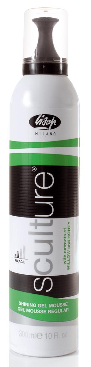 LISAP MILANO Мусс-гель нормальной фиксации для волос / Shining Gel Mousse SCULTURE 300млМуссы<br>Пенка для моделирования. Идеальное средство для решительных линий. Обеспечивает оптимальную динамичную фиксацию и блеск. Содержит Д-пантенол, экстракт бамбука и макромолекулы кремния. Можно использовать как на сухие волосы так и как на влажные, создавая мокрый эффект. Способ применения: хорошо встряхнуть и распределить небольшое количество продукта на влажные волосы.<br>