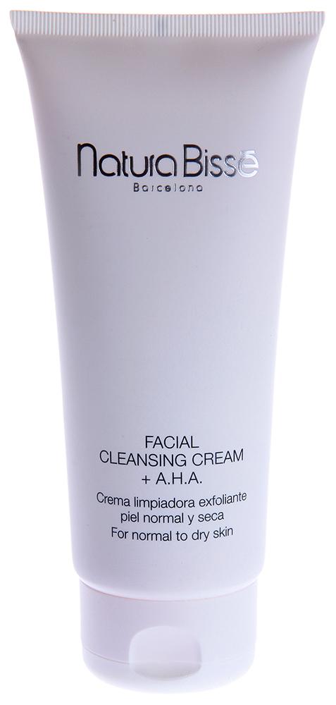 NATURA BISSE Крем очищающий с АНА для лица / Facial Cleansing Cream AHA DRY SKIN REGIME 200млКремы<br>Facial Cleansing Cream AHA   очищающий крем, предназначенный для снятия макияжа и поверхностных загрязнений кожи. Гидроксикислоты обеспечивают эффективную эксфолиацию, обновляя текстуру кожи и не нарушая естественного pH-баланса. Крем оказывает мягкое очищающее действие, подготавливая кожу к нанесению других косметических продуктов. Содержит аллантоин, алоэ вера, экстракты ромашки, липы, алтея. Мягко очищает и успокаивает кожу. Увлажняет и освежает кожу. Активные ингредиенты. Способ:&amp;nbsp;Water (Aqua), Cetearyl Alcohol, Propylene Glycol, Octyldodecanol, Cocamide DEA, Sodium Laureth Sulfate, Cocamidopropyl Betaine, Aloe Barbadensis Leaf Extract, Chamomilla Recutita (Matricaria) Flower Extract, Tilia Tomentosa Extract, Malva Sylvestris (Mallow) Extract, Bisabolol, Allantoin, Glycolic Acid, Lactic Acid, Malic Acid, Tartaric Acid, Citric Acid, Sodium Cetearyl Sulfate, Polyacrylamide, Hydrogenated Polydecene, C13-14 Isoparaffin, Laureth-7, Sodium Hydroxide, Disodium EDTA, Potassium Sorbate, Benzoic Acid, Sodium Benzoate, Ascorbic Acid, Phenoxyethanol, Methylparaben, Propylparaben, Ethylparaben, Butylparaben, Fragrance (Parfum), Limonene, Yellow 5 (CI 19140), Red 4 (CI 14700), Hydroxycitronellal, Linalool, Citronellol, Cinnamyl Alcohol. Способ применения: использовать ежедневно для очищения кожи и удаления макияжа. Небольшое количество крема нанести на кожу лица, шеи и декольте; смыть теплой водой с помощью спонжей. Избегать контакта с глазами. После очищения рекомендуется наносить тоник по типу кожи.<br><br>Объем: 200<br>Вид средства для лица: Очищающий