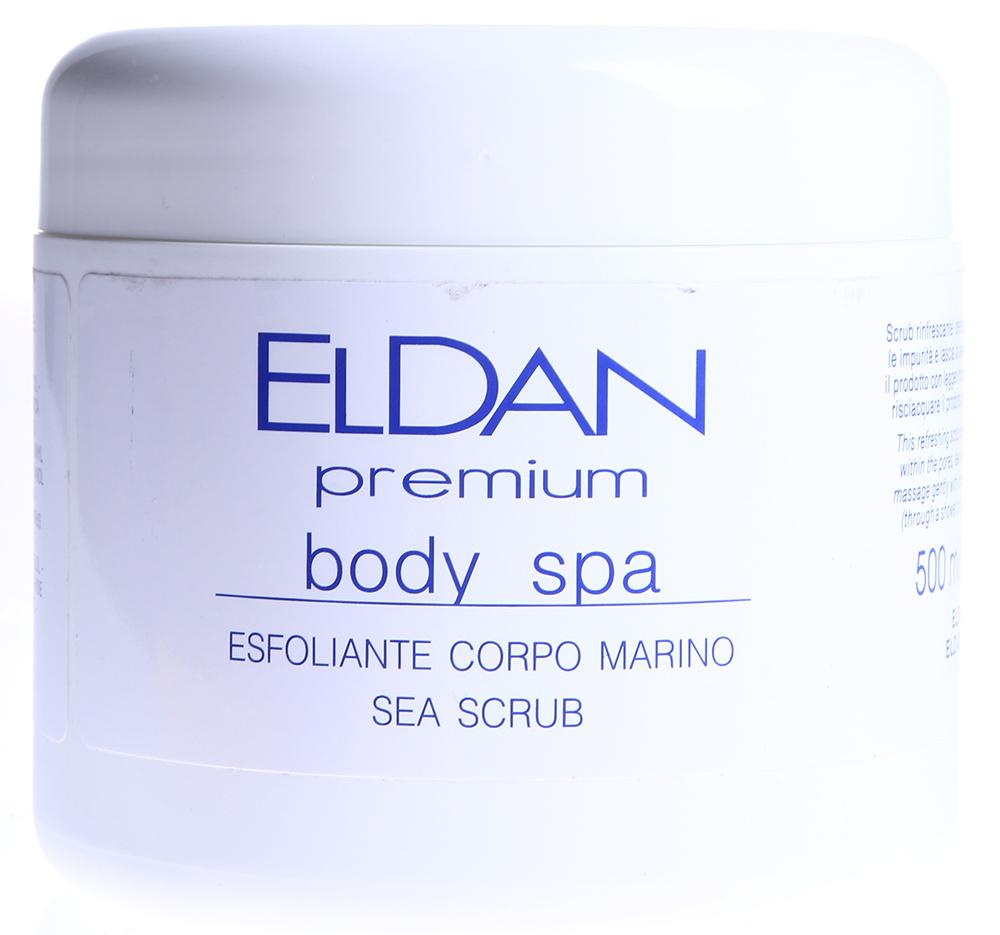 ELDAN Скраб с морскими водорослями для тела / PREMIUM BODY SPA 500млСкрабы<br>Тип кожи: для всех типов кожи Действие: Скраб сочетает свойства морских водорослей, растительных вытяжек и термальных соединений с эффективными полирующими частицами. Скраб оказывает антиоксидантное, противоспалительное, регенерирующее, нормализующее действие. Стимулирует кровообращение, укрепляет стенки капилляров, способствуют удалению токсинов и шлаков, оказывает тонизирующее и смягчающее действие на кожу. Содержит в большом количестве аминокислоты, витамины, микроэлементы, минеральные соли. Препарат повышает защитные функции эпидермиса, активизирует иммунитет кожи, снимает воспалительные процессы, оказывает успокаивающее действие на кожу, снимает напряжение, придает ощущение свежести и легкости, обладает осветляющим действием. Активные ингредиенты: Гидрогенизированное касторовое масло, экстракт центеллы азиатской, экстракт фукуса, экстракт семян гуараны, экстракт морских водорослей, масло луговой мяты, кофеин, глицерин, коэнзим А. Способ применения: Нанести скраб на влажную кожу, мягко массировать не менее 3-х минут, уделяя особое внимание участкам с отвердевшей кожей. Смыть водой. Используется в процедурах: Premium Body Spa - профилактика целлюлита и релаксация Уход Антистресс для ног<br><br>Вид средства для тела: Антиоксидантный<br>Назначение: Целлюлит