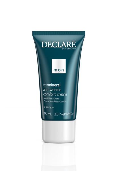 DECLARE Крем-комфорт против морщин для мужчин / Anti-Wrinkle Comfort Cream 75млЛицо<br>Высокоэффективный крем, обогащенный активными компонентами, отвечает всем потребностям кожи. Повышает упругость кожи. Эффективно снимает раздражение, покраснения, устраняет некомфортные ощущения после бритья. Насыщает кожу витаминами, минералами и влагой. Разглаживает микрорельеф и уменьшает количество и глубину морщин. Идеально подходит для сухой кожи, особенно рекомендуется в холодное время года для всех типов кожи. Активные ингредиенты: SRC-complex , минералы + витамины, специальная высокоочищенная вытяжка из дрожжей Toniskin , гиалуроновая кислота, морская вода, масло семян подсолнуха. Способ применения:&amp;nbsp;после очищения или бритья нанести на лицо и шею Sportive Anti-Age Cream.<br><br>Объем: 75 мл<br>Пол: Мужской