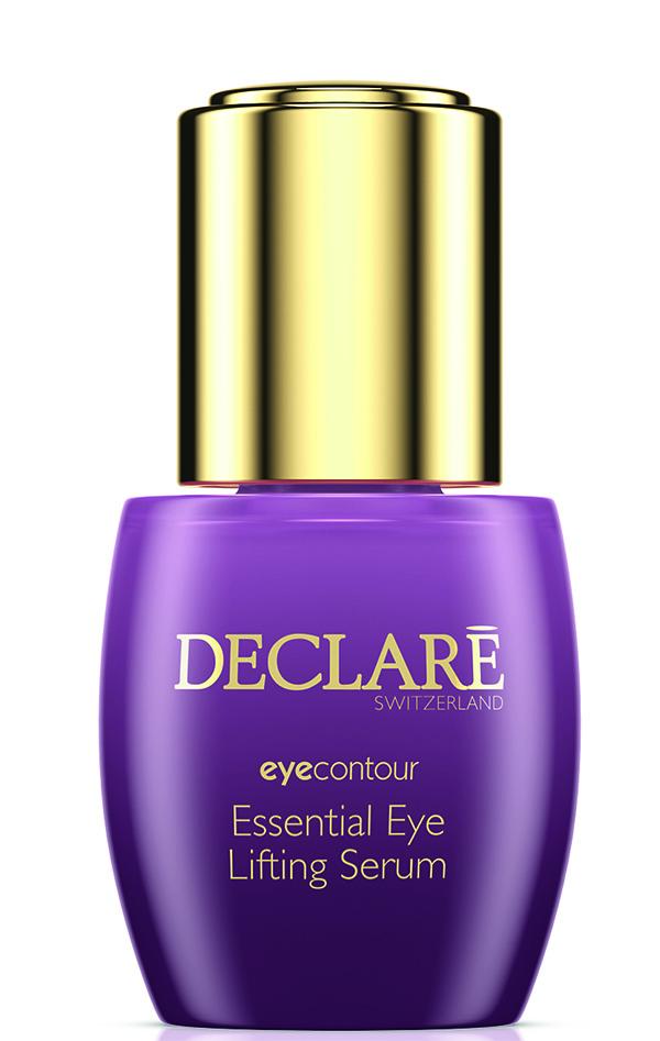 DECLARE Сыворотка-лифтинг интенсивная для кожи вокруг глаз / Essential Eye Lifting Serum 15 млСыворотки<br>Сыворотка моментально подтягивает кожу вокруг глаз, приподнимая верхнее веко, глубоко увлажняет кожу и заметно сокращает морщины. Быстро и эффективно избавляет от темных кругов под глазами, улучшает микроциркуляцию и лимфоток, укрепляет хрупкие стенки капилляров, обеспечивает противоотечное действие. Активные ингредиенты: SRC-Complex    восстанавливающий целостность эпидермального барьера; экстракт акации щелковой   оказывающий антиоксидантное действие; экстракт сигезбекии восточной   уменьшающий следы стресса и усталости и темные круги под глазами; экстракт центеллы азиатской   улучшающий клеточный метаболизм и стимулирующий кровообращение и водно-солевой обмен; экстракт иглицы шиповатой   удерживающий влагу в глубоких слоях кожи; экстракт календулы; pentavitin   влагоудерживающий  магнит ; гиалуроновая кислота (различного молекулярного веса) Способ применения: несколько капель сыворотки растереть кончиками пальцев и наносить на предварительно очищенную кожу вокруг глаз каждое утро и/или вечер. Поверх сыворотки возможно нанесение дополнительных средств ухода за кожей вокруг глаз.<br>