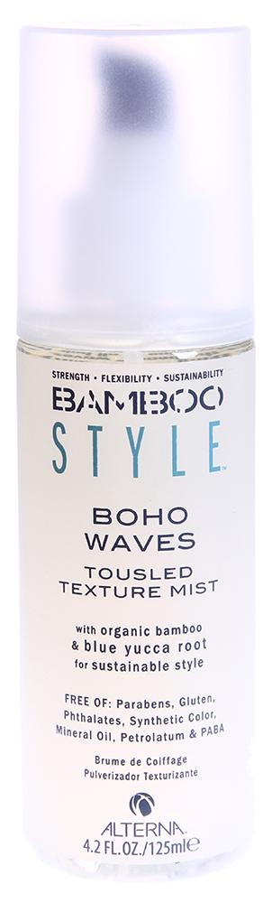 ALTERNA Спрей-активатор для кудрей / BAMBOO STYLE 125мл~Спреи<br>Alterna Bamboo Style Boho Waves Tousled Texture Spray Mist обладает невесомой текстурой, которая моментально придает волосам натуральный взлохмаченный вид и создает облик только что с пляжа. Дымка-спрей усиливает естественную текстуру волос, придает им объем и натуральный блеск. Подходит всем типам волос.  Органический экстракт бамбука моментально усиливает внутреннюю силу и гибкость волос. Повышает устойчивость волос к внешним агрессивным факторам окружающей среды. Волосы становятся сильными, насыщены полезными элементами и здоровыми. Экстракт плодов голубой Юкки является натуральным фиксатором, который определяет форму волос и придает им гибкость. Обладает длительной степенью фиксации без добавления вредных химических элементов. Подходит для всех типов волос.  Спрей-активатор для кудрей не содержит такие вредные компоненты: Парабены, Глютен, Фталаты, Синтетические красители, Минеральное масло, Петролатум, PABA. Не тестируется на животных.  Активные ингредиенты: Масло семян Лумбанга, витамин C (аскорбиновая кислота), органический экстракт бамбука, экстракт свёклы (бетаин), пантенол, экстракт корней японского васаби, экстракт корней голубой Юкки.  Способ применения: Равномерно распылите спрей на влажные или сухие волосы от корней и до самых кончиков. Затем придайте форму пальцами для достижения свободного, взлохмаченного вида. Только для наружного применения. Избегайте попадания в глаза.<br><br>Класс косметики: Натуральная