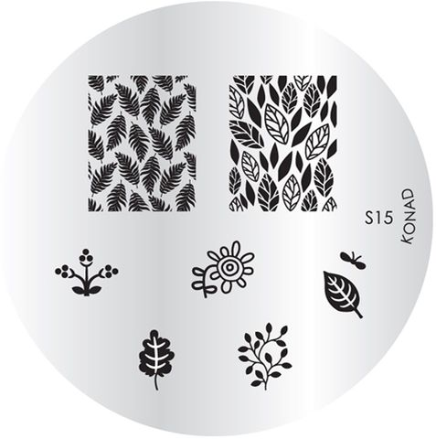 KONAD Форма печатная (диск с рисунками) / image plate S15 10грСтемпинг<br>Диск для стемпинга Конад S15 с изображениями листьев различных деревьев. 7 видов изображений, с помощью которых вы сможете создать великолепные рисунки на ногтях, которые очень сложно создать вручную. Активные ингредиенты: сталь. Способ применения: нанесите специальный лак&amp;nbsp;на рисунок, снимите излишки скрайпером, перенесите рисунок сначала на штампик, а затем на ноготь и Ваш дизайн готов! Не переставайте удивлять себя и близких красотой и оригинальностью своего маникюра!<br>