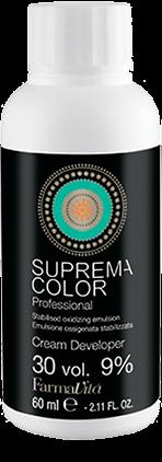 FARMAVITA Крем оксигент 30 вол (9%) / SUPREMA 60млОкислители<br>Кремообразная стабилизированная перекись водорода. Формула была специально разработана для защиты волоса от агрессивного воздействия химических веществ. Активные ингредиенты: Aqua (Water), Hydrogen peroxide, Cetearyl alcohol, Ceteareth-25,Laureth-3,Simethicone, Disodium EDTA, Etidronic acid, Phosphoric acid/ Способ применения: смешайте SUPREMA COLOR 1:1,5 с окислителем CREAM DEVELOPER 10/20/30/40 vol или 1:2 с 40 vol в случае супер-осветления волос. Смешайте SUPREMA COLOR 1:1 с CREAM DEVELOPER 10/20/30/40 vol чтобы получить более интенсивный цвет.<br><br>Содержание кислоты: 9%<br>Типы волос: Для всех типов