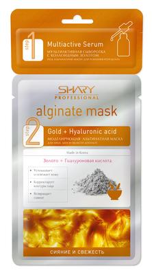 SHARY Маска профессиональная альгинатная с сывороткой  СИЯНИЕ И СВЕЖЕСТЬ  SHARY PROFESSIONAL 28г+2гМаски<br>Моделирующая маска с золотом и гиалуроновой кислотой подходит для всех типов кожи. Коллоидное золото выступает в роли проводника для ценных микроэлементов, стимулирует обменные процессы, оказывает тонизирующее действие и препятствует старению кожи. В тандеме с Гиалуроновой кислотой маска обеспечивает оптимальное увлажнение, корректирует овал лица, успокаивает и освежает. Свойство альгината многократно усиливать действие нанесенных под него средств, позволит сыворотке с коллоидным золотом проникнуть в более глубокие слои кожи, быстрее восстановить тонус и сияние.&amp;nbsp; Результат: кожа более гладкая и подтянутая, контуры лица лучше очерчены, кожа оптимально увлажненная, наполненная сиянием и свежестью. Активные ингредиенты: Состав Step1: Water, Glycerin, Butylene Glycol, Xanthan Gum, Hamamelis Virginiana (Witch Hazel) Extract, Collagen, Sodium Hyaluronate, Phenoxyethanol, Camellia Sinensis Leaf Extract, Betaine, Allantoin, Panthenol, Niacinamide, Gold, PEG-60 Hydrogenated Castor Oil, Dipotassium Glycyrrhizate, Adenosine, Disodium EDTA, Tocopheryl Acetate, Squalane, Algae Extract, Fragrance. Состав Step2: Glucose, Diatomaceous Earth, Calcium Sulfate, Potassium Alginate, Magnesium Carbonate, Titanium Dioxide, Mica, Sodium Hyaluronate, Portulaca Oleracea Extract, Centella Asiatica Extract, Colloidal Gold, Scutellaria Baicalensis Root Extract, Synthetic Fluorphlogopite, Sodium Benzoate Tetrapotassium Pyrophosphate, Allantoin, Niacinamide, CI 77491, CI 77492, Mentha Piperita (Peppermint) Oil, Fragrance<br><br>Вид средства для лица: Альгинатная<br>Класс косметики: Профессиональная<br>Типы кожи: Для всех типов