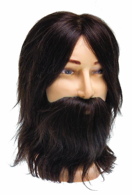 DEWAL PROFESSIONAL Голова учебная мужская шатен, натуральные волосы с усами и бородой 35см манекен с натуральными волосами
