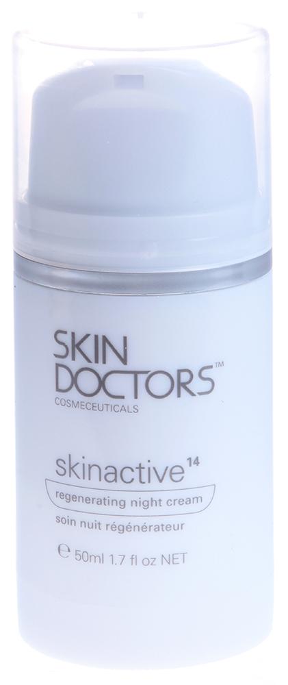 SKIN DOCTORS Крем регенерирующий ночной / Skinactive14  Regenerating Night Cream 50млКремы<br>Регенерирующий ночной крем Skinactive 14 TM. Благодаря мощному сочетанию активных ингредиентов, новый крем Skinactive14 обеспечит вашей коже лучшую защиту и идеальное восстановление во время сна, сохранит молодость, энергию, сияние и мягкость. Подходит для всех типов кожи. Один крем решает 14 универсальных проблем, обычно возникающих с возрастом: Глубоко увлажняет cухую, обезвоженную кожу, разглаживает неровности на ее поверхности, улучшает структуру кожи.  Предотвращает образование морщин и сокращает их количество, если они уже имеются .       Борется с обвисанием, уплотняет эпидермис, интенсивно питает, укрепляет тонкую, просвечивающую кожу, повышает упругость.        Очищает от токсинов, стимулирует клеточные функции и обновление, сужает поры.  Восстанавливает уставшую, подверженную стрессу кожу лица, возвращает ей свежий вид.         Активные ингредиенты: Renovage &amp;ndash; инновационный комплекс, который воздействует как на функциональные (уровень увлажненности, пигментация), так и на структурные (упругость, цвет, размер пор, эластичность) признаки увядания кожи. ExoT   стимулирует процесс обновления клеток кожи, делает ее более гладкой, выравнивает тон. Aquafill   совершенная разработка ученых   технология удерживания влаги на основе гиалуроновой кислоты и ячменного экстракта. Обеспечивает 24-часовое увлажнение, мгновенно заполняет морщины, сужает поры, восстанавливает липидный барьер. Sepilift DPHP   укрепляет и омолаживает кожу - обеспечивает сохранность соединения эпидермиса с дермой, защищает от разрушения коллагена и эластина, борется со свободными радикалами. Rovisome ACE Plus   cочетание различных производных витаминов F, A, C и E, которые помогают противостоять окислительному стрессу и обладают способностью захвата свободных радикалов   основных виновников старения кожи. Витамины заключены в липосомы, чтобы проникать в более глубокие слои кожи и насыщать ее 