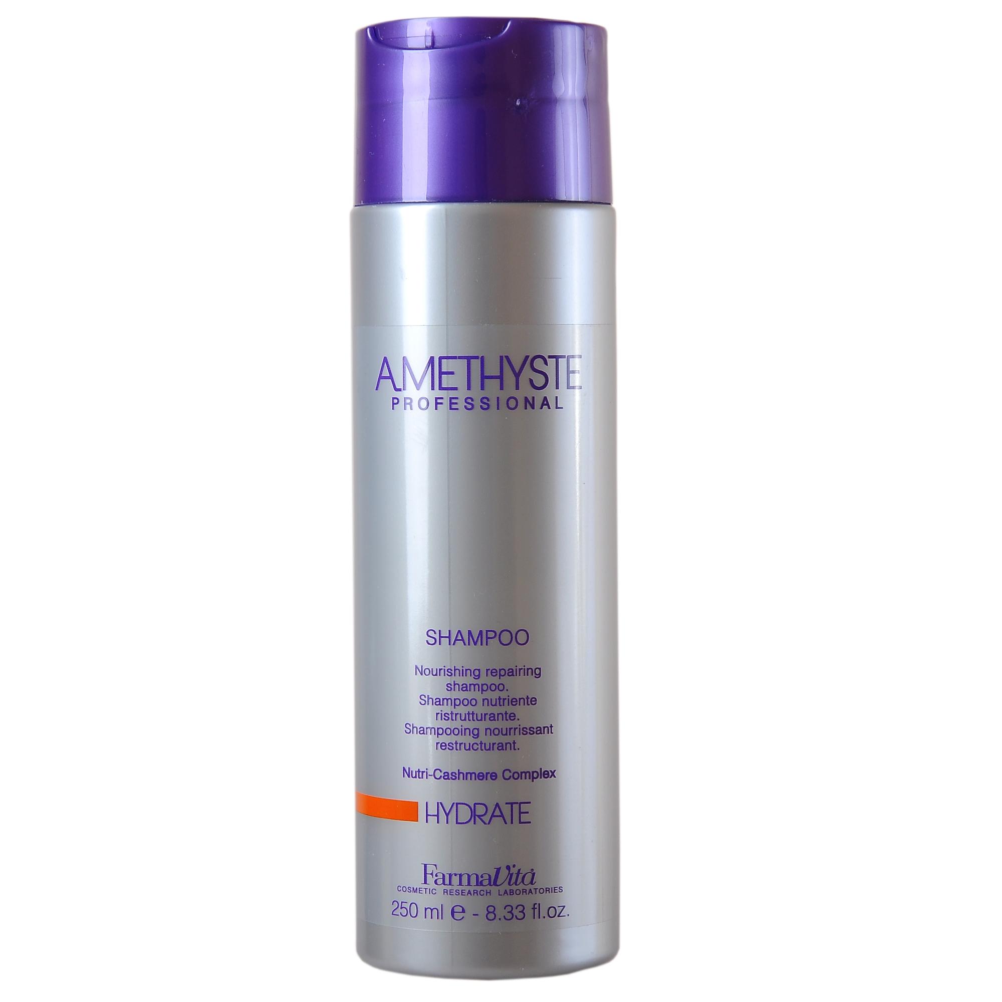 FARMAVITA Шампунь увлажн д/сухих и ослабленных волос Amethyste hydrate shampoo / AMETHYSTE PROFESSIONAL 250 млШампуни<br>Увлажняющий шампунь Amethyste Hydrate для сухих и ослабленных волос помогает восстановить структуру волос и регулирует естественный баланс влаги. Волосы становятся мягкими, легкими и блестящими. Содержит комплекс Nutri-Cashmere, который обеспечивает интенсивный блеск, улучшает текстуру волос и заметно смягчает волосы. В этом роскошном средстве заключается секрет удивительно мягких и соблазнительных волос, блестящих как солнечные лучи. Протеин кашемира защищает волосы, обволакивая их пленкой, восстанавливает водный баланс. Активные ингредиенты: комплекс Nutri-Cashmere: Протеины кашемира - защищают волосы благодаря своим уплотняющим свойствам. Протеины имеют высокую молекулярную массу и аминокислотный состав. Способны поглощать и удерживать молекулы воды, позволяя восстанавливать и поддерживать правильный баланс влаги и придавать волосам насыщенный блеск. Глицерин - укрепляет и увлажняет. Пантенол - глубоко проникает в структуру и позволяет сбалансировать естественный уровень влаги в волосах. Способ применения: равномерно нанести шампунь на увлажненные волосы и кожу головы. Вспенить, распределить аккуратными массажными движениями. Смыть. При необходимости процедуру повторить. Для получения оптимального результата побалуйте себя SPA-процедурой Роскошный кашемир - очищение, питание, яркость. Результат - красивые, мягкие и блестящие волосы! 1 шаг: очищение волос и кожи головы шампунем Amethyste Hydrate. Нанесите шампунь на влажные волосы и кожу головы, вспеньте, сделайте легкий массаж в течение нескольких минут. Тщательно смойте шампунь. 2 шаг: питание с маской Amethyste Hydrate. Слегка подсушите волосы полотенцем, равномерно нанесите маску на волосы, выдержите несколько минут, тщательно смойте. 3 шаг: яркость, которую обеспечит волосам лосьон Amethyste Hydrate. Содержимое одной ампулы нанести на чистые влажные волосы, равномерно распределите по длине.