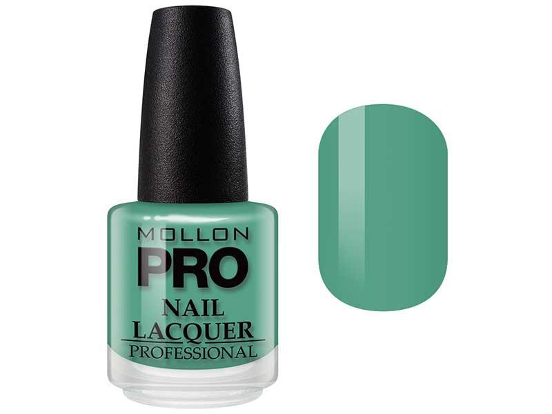 MOLLON PRO Лак для ногтей с закрепителем / Hardening Nail Lacquer  188 15млЛаки<br>Профессиональный лак для ногтей с усиленным блеском.&amp;nbsp;Яркий, соблазнительный и удобный в применении лак, созданный по безопасной формуле Save and Care, не содержит дибутилфталата, толуола, формальдегида и надолго сохраняет эстетический вид.&amp;nbsp;Входящая в состав лака специальная формула с содержанием кальция, фосфора и цинка оказывает восстанавливающую, ухаживающую и защитную функцию для ногтей. Профессиональная кисточка великолепно распределяет лак на ногтевой пластинке, не оставляя разводов. Способ применения: чтобы продлить стойкость стилизации, необходимо применить Base Coat Nail Repair перед нанесением лака, затем 2 слоя Nail Lacquer и Top Coat Quick Dryer.<br><br>Цвет: Зеленые<br>Класс косметики: Профессиональная<br>Виды лака: Глянцевые