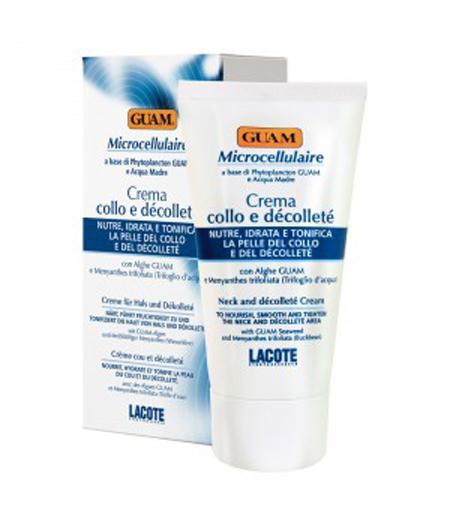 GUAM Крем для шеи и декольте / MICROCELLULAIRE 75млКремы<br>Увлажняет, питает и подтягивает кожу. Предотвращает появление морщин на шее и декольте. Благодаря активным компонентам оказывает выраженное антиоксидантное действие. Стимулирует выработку коллагена и улучшает структуру кожи. Кожа шеи и декольте становится более нежной, упругой и гладкой. Лёгкая консистенция крема быстро впитывается.   Активные ингредиенты: Экстракт водорослей GUAM, экстракт вахты трехлистной, морская вода. Способ применение: Наносить утром и вечером легкими массажными движениями на область декольте и от основания шеи до подбородка.<br><br>Вид средства для тела: Антиоксидантный
