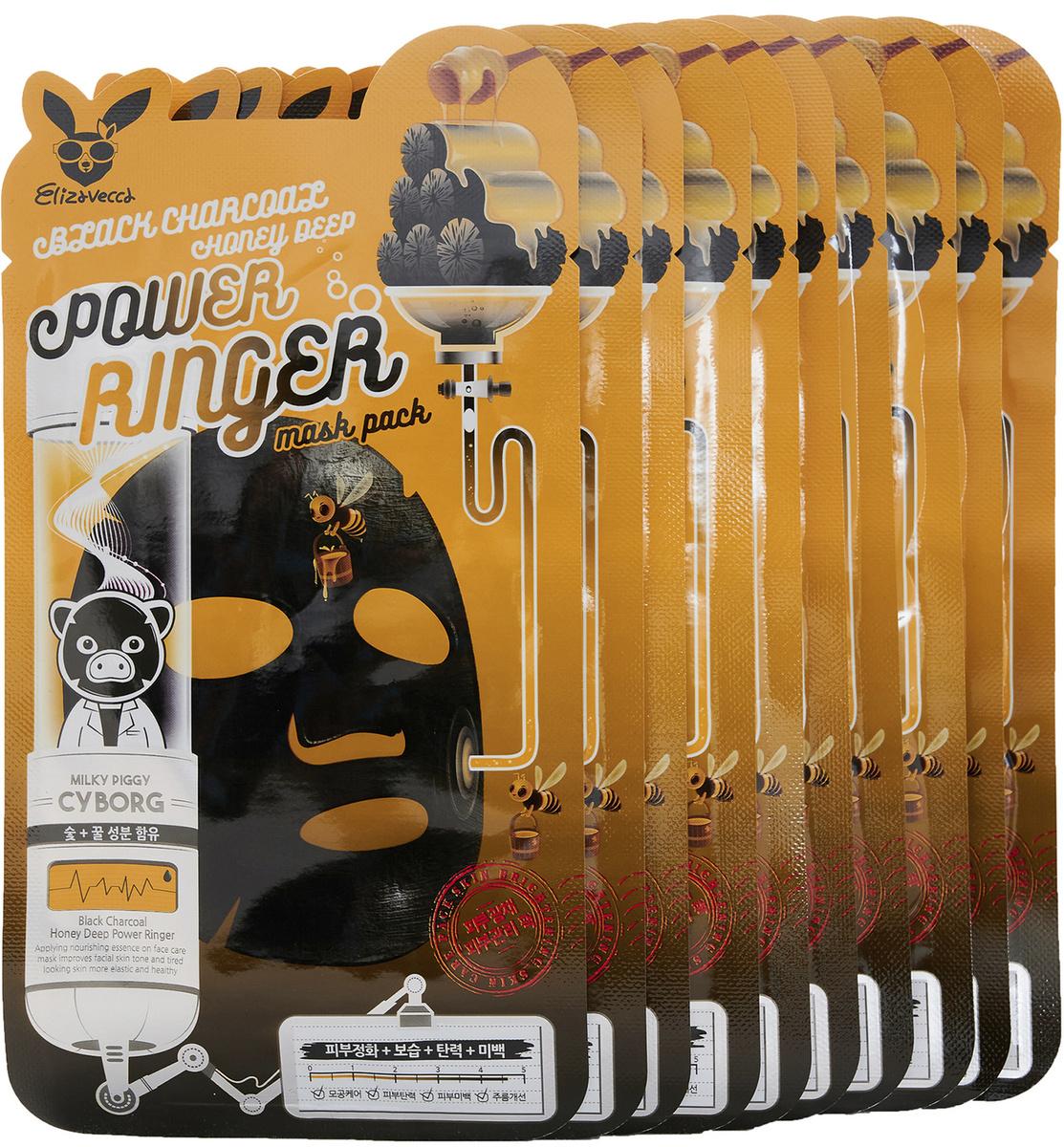 Купить ELIZAVECCA Маска тканевая для лица / Black Charcoal Honey Deep Power Ringer Mask Pack 10 шт