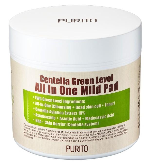 Купить PURITO Пэды увлажняющие с центеллой для очищения кожи / Centella Green Level All In One Mild Pad 70 шт