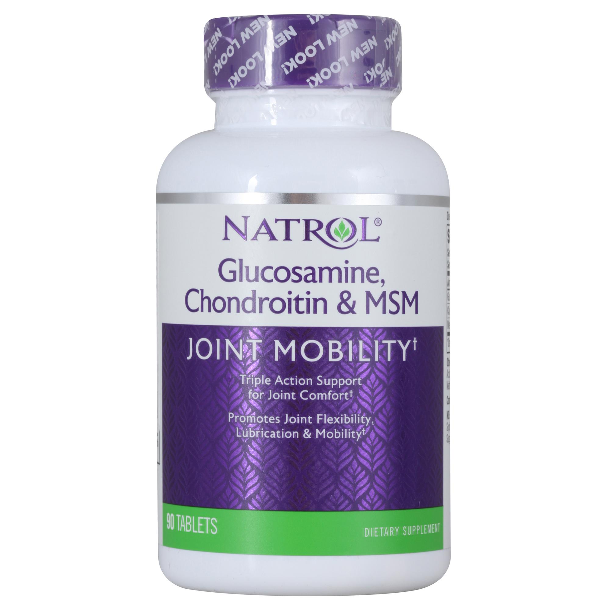 NATROL Добавка биологически активная к пище Глюкозамин хондроитин и МСМ / Glucosamine Chondroitin MSM 90 таблеток
