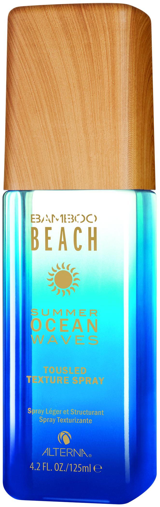 ALTERNA Спрей для создания текстуры / Bamboo Beach Summer Ocean Waves 125млСпреи<br>Summer Ocean Waves Спрей для создания текстуры: лёгкий текстурирующий спрей для создания пляжной укладки. Наносится на сухие или влажные волосы. Спрей защищает от ультрафиолетового излучения, борется с условиями окружающей среды, которые оказывают негативное воздействие на волосы в течение лета, и создаёт эффект непринуждённо взъерошенных волос. Способ применения: распылите на влажные или сухие волосы от корней до кончиков для придания формы пальцами в свободный, небрежный образ.<br><br>Вид средства для волос: Текстурирующая<br>Типы волос: Для всех типов