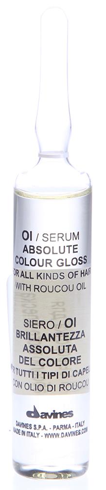DAVINES SPA Сыворотка для абсолютного блеска окрашенных волос / OI ESSENTIAL HAIRCARE 1*13млСыворотки<br>Косметическая сыворотка для всех типов волос с маслом аннато. Подчеркивает цвет волос, придавая исключительный блеск. Сохраняет цвет окрашенных волос, облегчает процесс расчесывания. Рекомендуем использовать сыворотку после каждой услуги окрашивания.  Активный ингредиент: Масло аннато.   Способ применения: Наносить на вымытые и подсушенные полотенцем волосы. При нормальных здоровых волосах нанести все содержимое ампулы, помассировать, хорошо расчесать и высушить волосы. Не смывать. При жестких или сухих волосах нанести кондиционер, оставить для воздействия, смыть водой. Нанести на волосы все содержимое ампулы, помассировать, хорошо расчесать.<br><br>Класс косметики: Косметическая