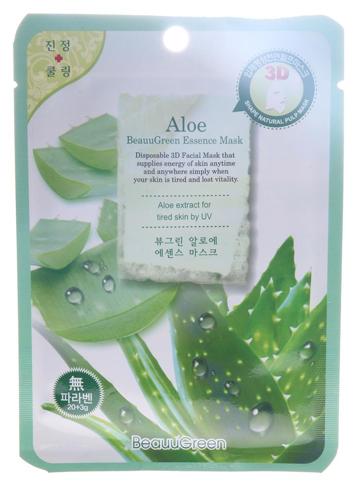 BEAUUGREEN Маска Алоэ / 3D 23грМаски<br>Маска для лица на основе биоцеллюлозы с экстрактом алоэ. Хорошо успокаивает, оказывает мощное противовоспалительное и успокаивающее действие. Подходит для молодой и раздраженной кожи. Может применяться после солнечных ожогов. Активные ингредиенты: экстракт алоэ, аллантоин, витамин В5. Способ применения: извлечь маску из саше, равномерно распределить на лице, выдержать экспозицию 20минут. Основу маски снять, остаткам концентрата дать впитаться, при необходимости нанести крем.<br>