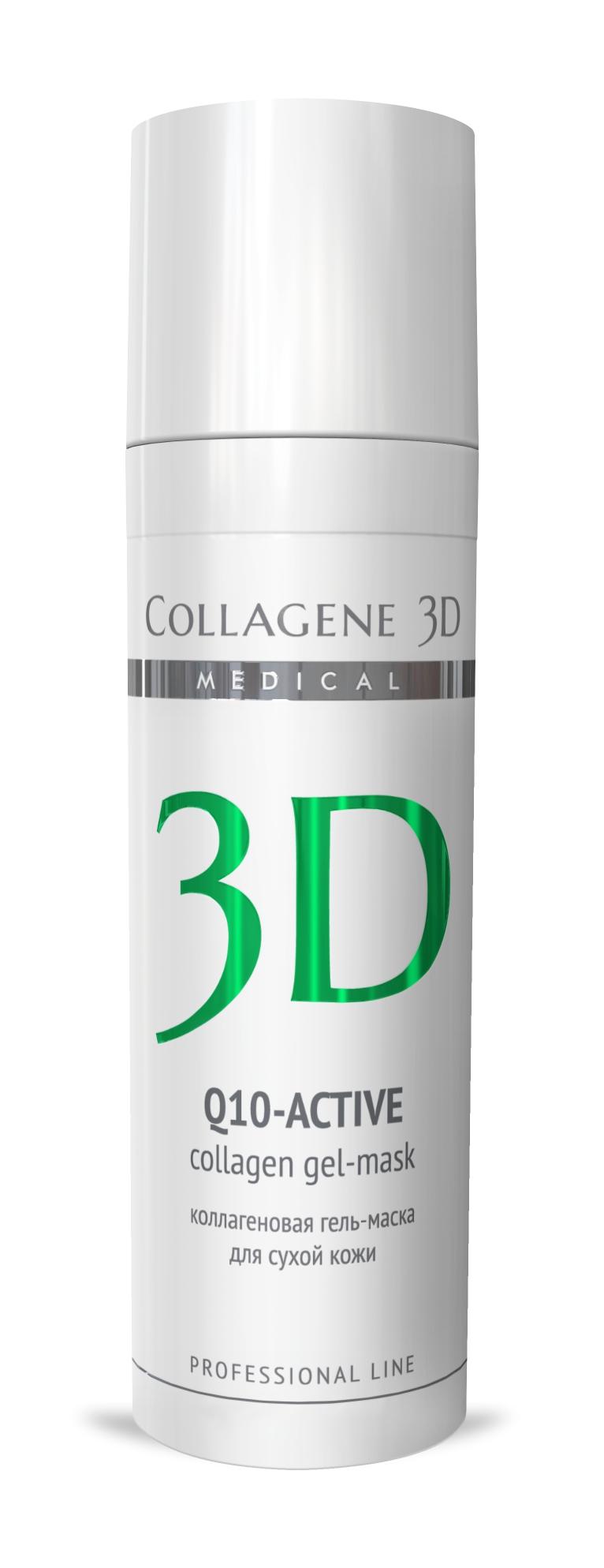 MEDICAL COLLAGENE 3D Гель-маска коллагеновая с коэнзимом Q10 и витамином Е Q10-aktive 30мл проф.Маски<br>Гель-маска подходит для проведения самостоятельной процедуры, а также сочетается с аппаратными методиками, может применяться в качестве концентрата под альгинатную маску или обертывания. Коэнзим Q10 и витамин E способствуют увлажнению сухой кожи, обеспечивают антиоксидантную защиту, стимулируют процессы выработки энергии. Нативный коллаген восстанавливает естественный уровень влажности эпидермиса и способствует проникновению воды и активных компонентов вглубь кожи. Активные ингредиенты: нативный трехспиральный коллаген, коэнзим Q10, витамин E. Способ применения: косметическая маска: очистить кожу косметическим молочком MILKY FRESH и тонизировать фитотоником NATURAL FRESH. Сделать пилинг, если потребуется. Нанести гель-маску на кожу тонким слоем. Сразу после того, как гель впитается, увлажнить кожу водой и поверх первого слоя нанести второй слой гель-маски. Время экспликации 5-15 минут (в зависимости от степени влажности помещения и особенностей кожи клиента, гель-маска может впитываться очень быстро). Если после полного поглощения кожей гель-маски останется чувство стянутости, следует удалить остатки микрослоя гель-маски при помощи фитотоника NATURAL FRESH. Нанести средство ухода за кожей век и крем MEDICAL COLLAGENE 3D по выбору косметолога.<br>