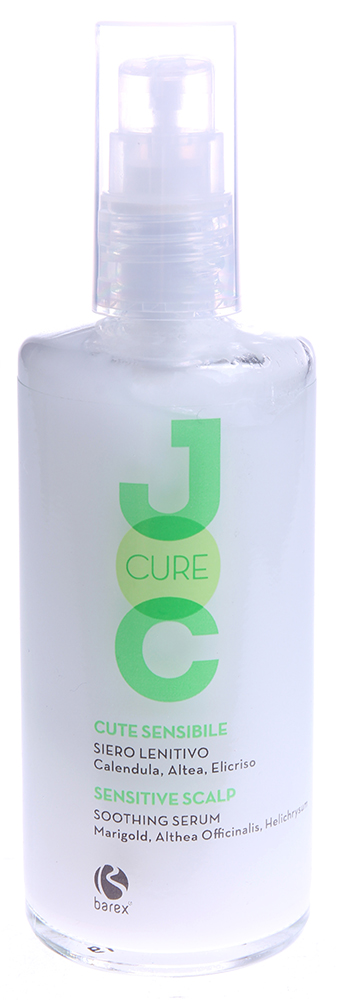 BAREX Сыворотка успокаивающая с Календулой, Алтеем и Бессмертником / JOC CURE 100млСыворотки<br>Устраняет симптомы раздражения чувствительной кожи головы, немедленно улучшая ее состояние. Шелковистая текстура создает приятные ощущения при нанесении и придает ощущение комфорта. Бета-глюкан активизирует систему естественной защиты кожи, оберегая её от внешнего воздействия и снижая зуд. Календула: успокаивает раздражённую кожу и улучшает её состояние. Алтей лекарственный: обладает смягчающими и защитными свойствами. Бессмертник: оказывает противовоспалительное и восстанавливающее действие. Активные ингредиенты: бета-глюкан, календула, алтей лекарственный, бессмертник, масло сладкого миндаля, натуральные эфирные масла лаванды, розмарина и шалфея. Способ применения: нанести несколько капель на кожу головы и мягко помассировать. Не смывать.<br><br>Вид средства для волос: Восстанавливающий<br>Тип кожи головы: Чувствительная