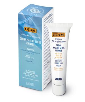 GUAM Крем против пигментных пятен / MICRO BIOCELLULAIRE 30 млКремы<br>Борется с пигментными пятнами на коже лица, появившимися в результате старения, стресса, воздействия солнечных лучей, естественным образом осветляя их и предотвращая их возвращение. Альфа-гидрокислоты в сочетании с комплексом для осветления кожи противодействуют локализованным скоплениям меланина, провоцирующим пигментацию, выравнивают цвет лица. Экстракт тысячелистника и алоэ укрепляют естественный уровень увлажнения кожи. Активные ингредиенты: BIOACTIVITY ЛАМИНАРИИ ПАЛЬЧАТО-РАССЕЧЕННОЙ, солнцезащитные средства, морской планктон, гликолевая кислота, миндальная кислота, лимонная кисота, молочная кислота, комплекс для осветления кожи,экстракт тысячелистника органического сельского хозяйства,экстракт алоэ органического сельского хозяйства. Не содержит: парафин, минеральные масла, синтетические красители. Животные компоненты, парабены.Тест на никель пройден.<br><br>Типы кожи: Для всех типов<br>Назначение: Пигментация
