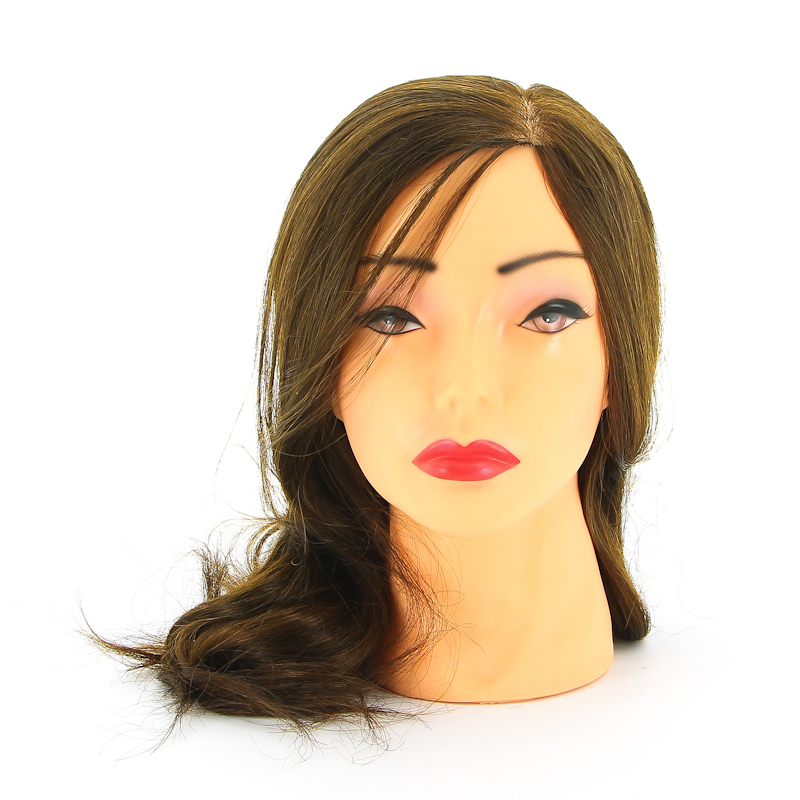 DEWAL PROFESSIONAL Голова учебная шатенка, протеиновые волосы 30-40см манекен с натуральными волосами