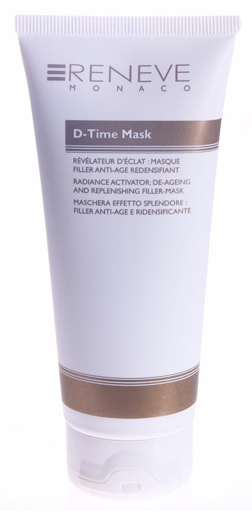 RENEVE Маска омолаживающая с эффектом филлера / D-Time Mask 100млМаски<br>Омолаживающая маска для кожи лица и области декольте. Легко наносится. Вы получаете все богатство активных компонентов, которые синергично и оказывают омолаживающее действие. Для женщин 30 лет и старше. Подходит для всех типов кожи . Активные ингредиенты: комбинация гиалуроновой кислоты с бетаином для усиления увлажняющих свойств и заполняющего действия. STIMATRIX инновационный липопептид, который способен сглаживать любые морщины за счет активации TGF-бета . VITAL-CELL обладает мощным антигликирующим действием. Способ применения: используется один раз в неделю на фоне использования кремов D-Time 30 и D-Time 45.<br><br>Вид средства для лица: Омолаживающий<br>Пол: Женский<br>Назначение: Морщины