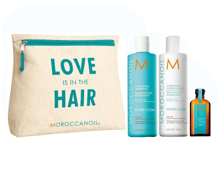 MOROCCANOIL Набор Love Is In The Hair Увлажнение (шампунь 250 мл, кондиционер 250 мл, сухой шампунь для темных волос 65 мл, масло 25 мл) / Moroccanoil