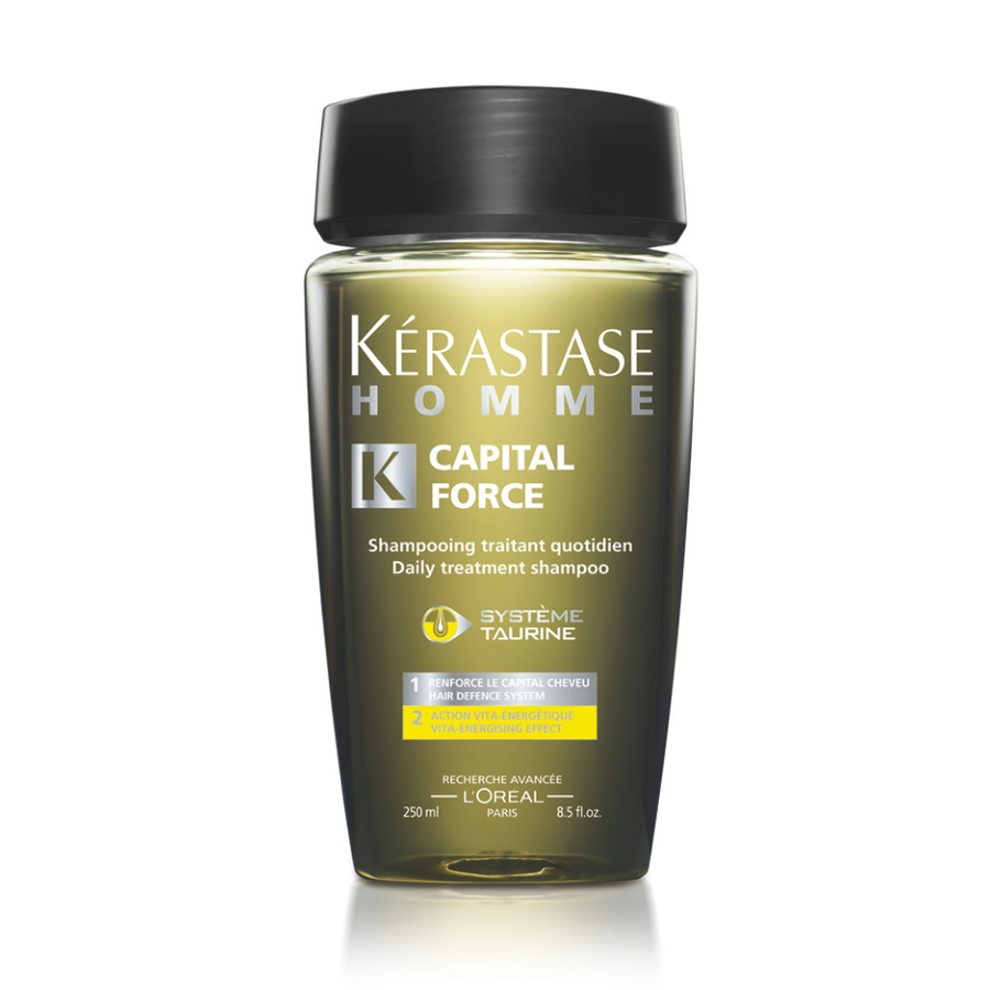 KERASTASE Шампунь энергетический для нормальных волос Капитал Форс / HOMME 250млВолосы<br>Наполняет жизненной силой и освежает кожу головы. Мгновенное укрепление волос   они наполнены жизненной энергией и блеском. Шампунь предназначен для ежедневного ухода за волосами любого типа и разработан специально для мужчин. Активные ингредиенты: SYST ME TAURINE&amp;nbsp;+ SP94, GINSENG ET MENTHOL Система Таурин + SP94, экстракт женьшень и ментол. 1. Сохраняет массу волос. 2. Заряд энергии для волос. Способ применения: нанесите на влажные волосы. Массирующими движениями распределите средство, тщательно смойте. При необходимости повторить.<br><br>Пол: Мужской