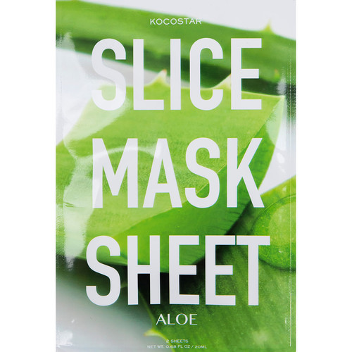KOCOSTAR Маска-слайс для лица, алоэ вера / SLICE MASK SHEET ALOE 20 мл 100% purity pomegranate bark extract powder 20%