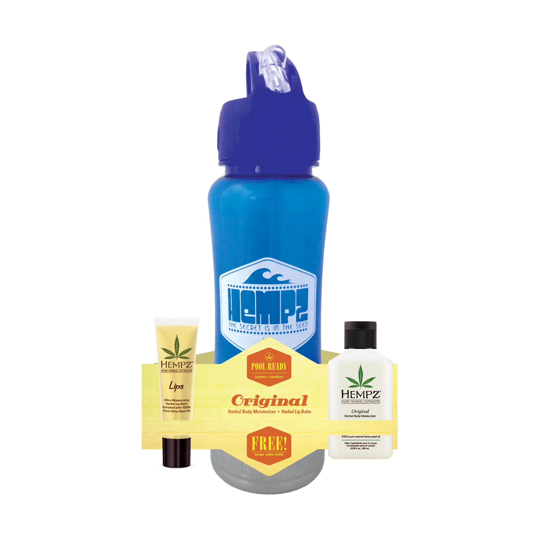 HEMPZ Набор оригинальный Спорт (бальзам для губ SPF 15 14 г, молочко для тела 66 мл, спортивная бутылка для воды в подарок!) Pool Ready  Original - Наборы