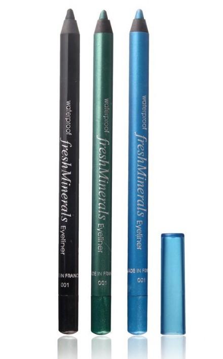 FRESH MINERALS Подводка водостойкая для век Black / Waterproof Eyeliner 10,9млПодводки<br>Водостойкая подводка для век freshMinerals легко и приятно наносится на веко благодаря мягкой текстуре и оптимальному составу натуральных компонентов. Четко нарисованные водостойким карандашом линии быстро высыхают, не растираются и не осыпаются в течение всего дня, а также не растекаются после слез, дождя и снега.  Разнообразная цветовая палитра позволяет найти подходящий вариант для каждой женщины.<br>