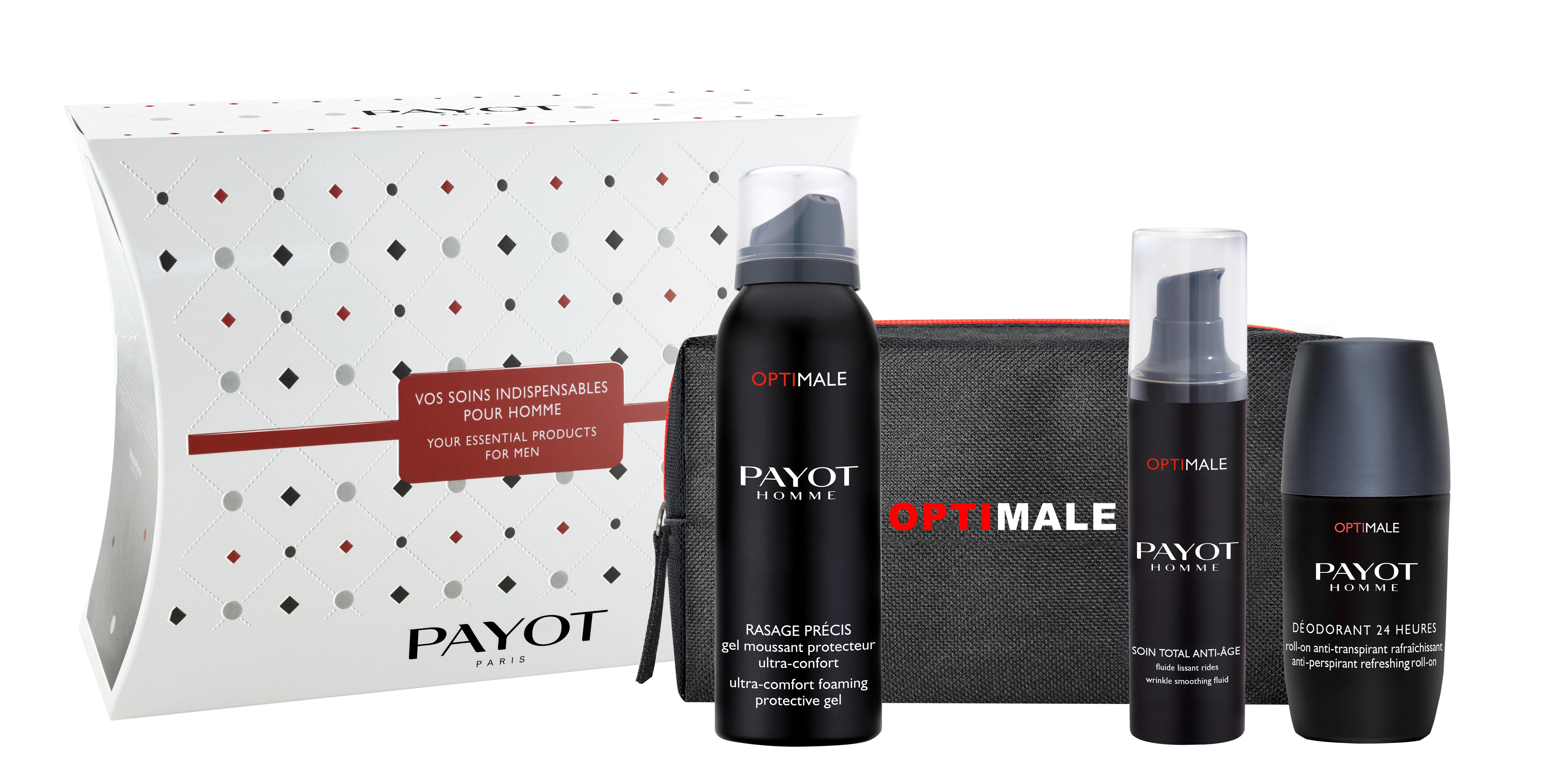 PAYOT Набор подарочный мужской (флюид для разглаживания морщин 50 мл, пена для бритья 100 мл, дезодорант-ролик 75 мл, имиджевая косметичка) Optimale