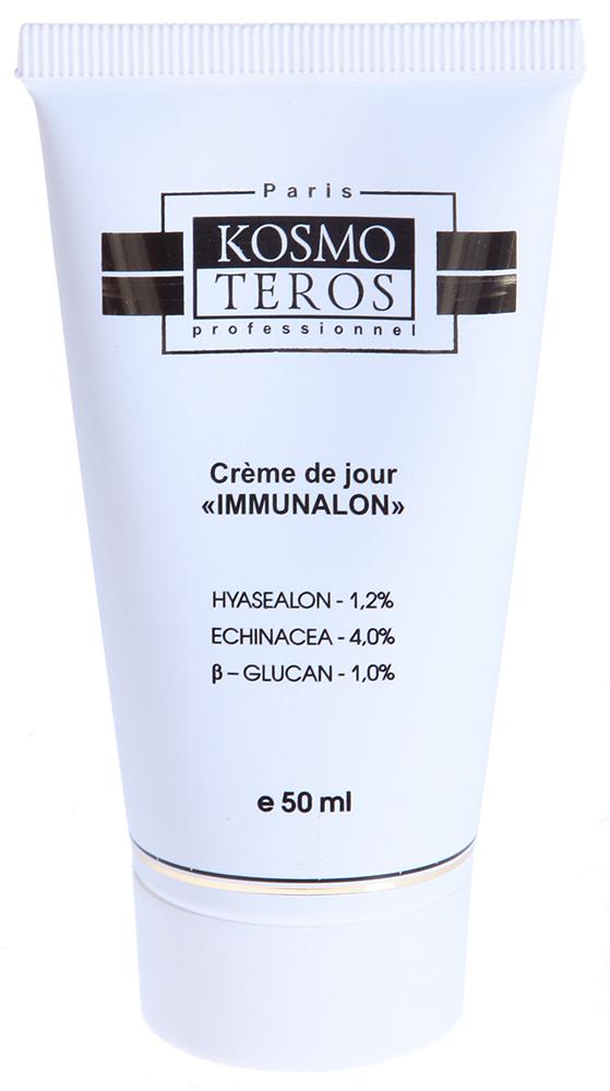 KOSMOTEROS PROFESSIONNEL Крем дневной IMMUNALON 50млКремы<br>Дневной крем входит в Комплекс  IMMUNALON - для поддержания иммунитета кожи. Уменьшает покраснение и отек, устраняет признаки нейрогенного раздражения кожи, оказывает выраженный противовоспалительный эффект. Укрепляет иммунную систему кожи, стимулирует обновление клеток, восстанавливает коллаген, обладает сильными анти-воспалительными и фотозащитными свойствами. Активные ингредиенты: HYASEALON 1,2%,  - глюкан 1,0%, ЭХИНАЦЕЯ 4,0%, экстракт эхинацеи пурпурной,     глюкан, Д- пантенол, глицерил стеарат, цетеарет   20 , цетеарет   12, цетеариловый спирт, цетилпальмитат, масло ши, глицерин, пропиленгликоль, масло орехов макадамии, масло миндальное, лецитин, жирные спирты С        , пальмитиновая кислота, токоферолацетат, гиалуроновая кислота, коллаген нативный, эластин, аланин, аллантоин, отдушка, экстракт жимолости. Способ применения: нанести крем на очищенную кожу лица, шеи и декольте.<br><br>Время применения: Дневной