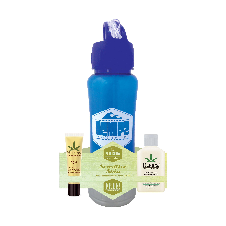 HEMPZ Набор Чувствительная кожа Спорт (бальзам для губ SPF 15 14 г, молочко тела 66 мл, спортивная бутылка в подарок!) Pool Ready - Sensitive Skin