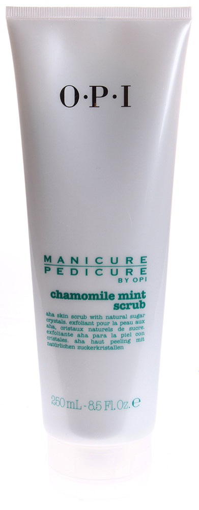 OPI Скраб для рук и ног Ромашка-мята / Manicure-Pedicure Chamomile Mint Scrub 250млСкрабы<br>Скраб для рук и ног Ромашка-Мята Chamomile Mint Scrub содержит в своем составе натуральные сахарные кристаллы, избавляющие от мозолей и сухой, грубой кожи. Кроме того, экстракт ромашки помогает предотвратить гиперкератоз, питает кожу, а также делает ее мягкой. Результат. Очищение и питание кожи рук и ног. Активный состав: Натуральные сахарные кристаллы, экстракт ромашки. Применение: Нанести массажными движениями на высушенные полотенцем руки или ступни и втереть. Затем смыть.<br><br>Объем: 250<br>Назначение: Мозоли