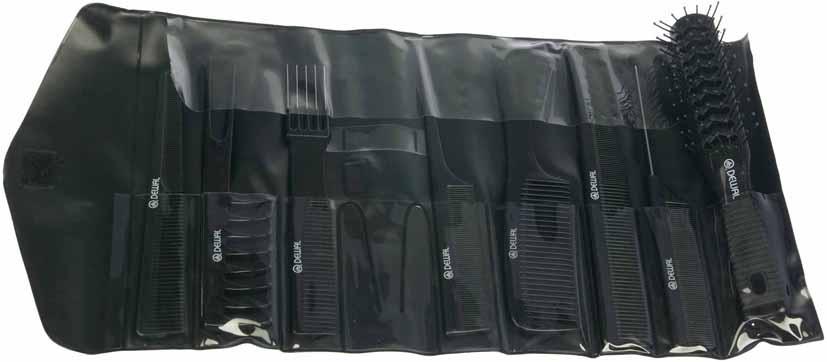 DEWAL PROFESSIONAL Набор расчесок в черном чехле, 8 предметов (черный) - Расчески