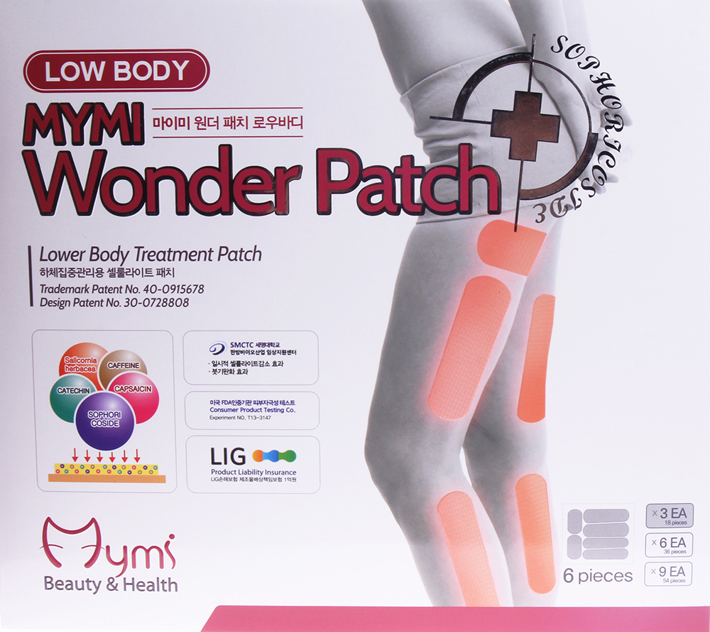 MYMI Патчи для похудения нижней части тела / Wonder Patch Lowbody MYMI 3штПластыри<br>Пластырь используется как вспомогательное средство при похудении и для укрепления тургора кожи. Этот вид пластыря используется на поверхности бедер, икр. С пластырем можно принимать душ и спать. Стимулирует липолиз, расщепляет жир, укрепляет кожу. Помните, что для повышения эффективности действия пластыря следует придерживаться диеты и делать физические упражнения. Активные ингредиенты: Sophoricoside: натуральное запатентованное вещество с эффектами снижения веса и жировых отложений. Катехин: тормозит накопление жировых клеток и расщепляет их. Капсаицин: вырабатывается из сортов жгучего перца, предотвращает накопление жировых клеток и улучшает обменные процессы. Кофеин: уничтожает проявления целлюлита, расщепляя жировые клетки. Sallcornia herbacaa: уход за кожей. Способ применения: снимите среднюю часть пленки. Приложите к проблемной зоне. Снимите обе стороны пленки и аккуратно приложите/прижмите к коже. Удерживайте пластырь еще в течение 2 ~ 3 минут, удалите его через 6 ~ 8 часов в горизонтальном направлении. Размеры: Бедра - 9,3 см. х 5 см. Бедра - 1,6 см. х 5,3 см. Ноги - 1,6 см. х 9,3 см.<br><br>Назначение: Целлюлит