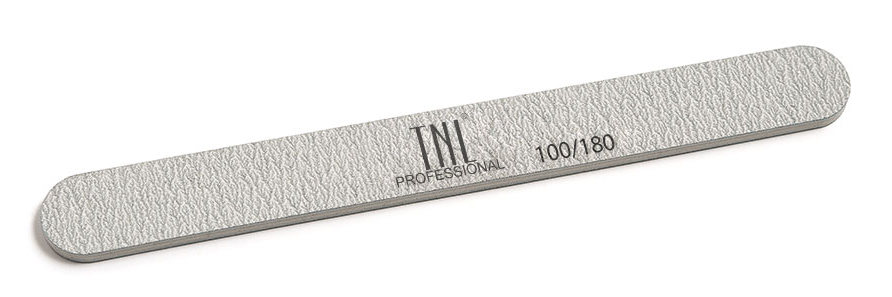 TNL PROFESSIONAL Пилка узкая для ногтей 100/180, серая (в индивидуальной упаковке)