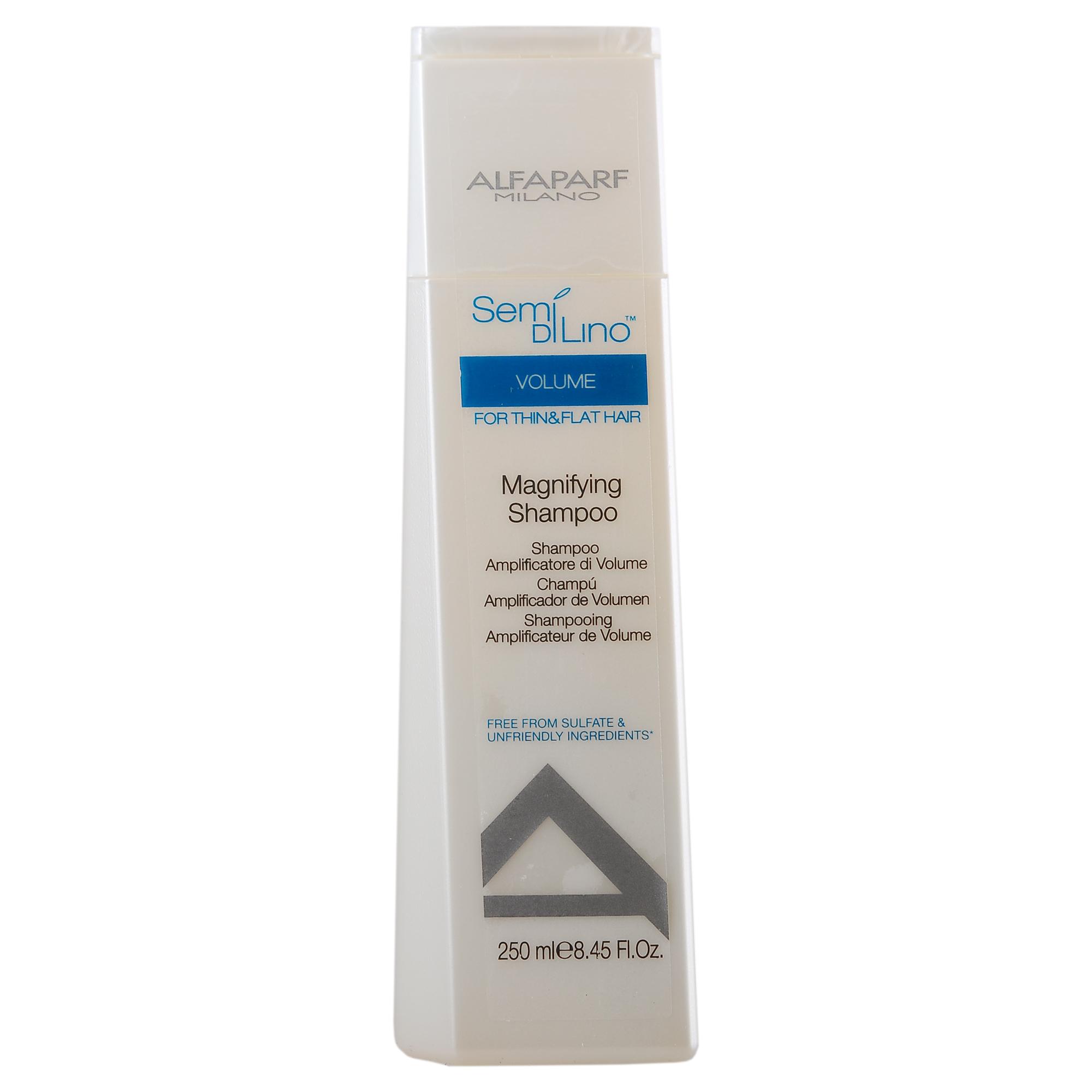 ALFAPARF MILANO Шампунь для объема / SDL VOLUME MAGNIFYING SHAMPOO 250млШампуни<br>Шампунь для тонких волос, придающий объём. Мягко очищает волосы, обладает антистатическим эффектом. Содержит протеины пшеницы, которые придают плотность и текстурированность волосам. Комплекс сохранения цвета: продлевает и усиливает сияние и интенсивность цвета. Экстракт льна придает волосам невероятный блеск. Способ применения:&amp;nbsp;нанести на мокрые волосы, вспенить, затем обильно смыть водой. При необходимости повторить процедуру. Без Сульфатов. Без Парабенов и Парафинов. Без Красителей. Не вызывают Аллергию<br><br>Объем: 250 мл<br>Типы волос: Тонкие