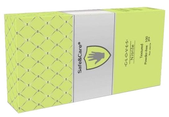 Купить SAFE & CARE Перчатки нитриловые, зеленые (лайм), размер М / Safe & Care 100 шт