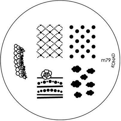 KONAD Форма печатная (диск с рисунками) / image plate M79 10грСтемпинг<br>Диск для стемпинга Конад М79 используется для нанесения на ногти изображений с легкими потрясными рисунками. Несколько видов изображений, с помощью которых вы сможете создать великолепные рисунки на ногтях, которые очень сложно создать вручную. Активные ингредиенты: сталь. Способ применения: нанесите специальный лак&amp;nbsp;на рисунок, снимите излишки скрайпером, перенесите рисунок сначала на штампик, а затем на ноготь и Ваш дизайн готов! Не переставайте удивлять себя и близких красотой и оригинальностью своего маникюра!<br>